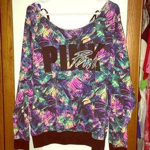 VS Pink tropical sweatshirt L large colorful